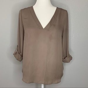 V-Neck Taupey Blouse
